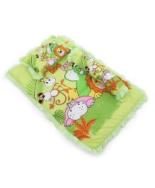 Attoon BabyBedding With Bolster And Pillow Animals Print  - Green