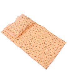 Du Bunn Bed Set With Love Bear Dotted Print - Peach