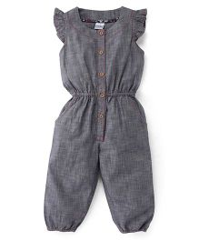 Babyhug Flutter Sleeves Jumpsuit - Grey