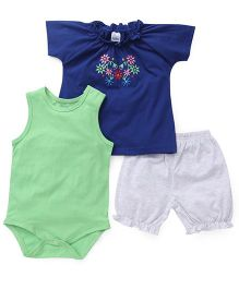Babyhug Embroidered Top Shorts Onesie Pack Of 3 - Royal Blue Grey Green