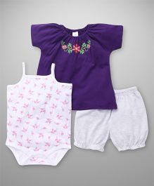 Babyhug Embroidered Top Shorts Onesie Pack Of 3 - Purple Grey White
