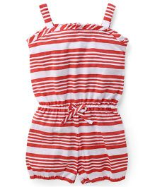 Babyhug Singlet Striped Jumpsuit - Coral