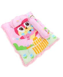 Montaly Baby Bedding Set With Pillow And Bolster Teddy Print - Pink