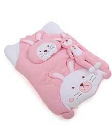 IQ Baby Baby Bedding With Bolster And Pillow Rabbit Design - Pink