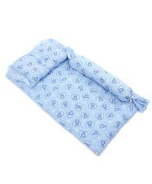 Du Bunn Heart & Bunny Print Bedding Set With Bolster - Blue