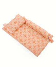 Du Bunn Bedding And Pillow Set With Bolster Bear And Hearts Print - Orange