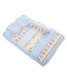 Baby Bedding With Bolster And Pillow Checks And Multi Print - Blue