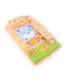 Attoon Baby Bedding With Bolster And Pillow Bear Wish You Print - Peach