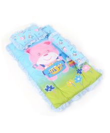 Attoon Baby Bedding With Bolster And Pillow Bear Wish You Print - Blue
