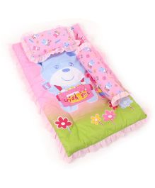 Attoon Baby Bedding With Bolster And Pillow Bear Wish You Print - Pink