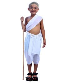 SBD National Heros Mahatma Gandhi Fancy Dress Costume - White