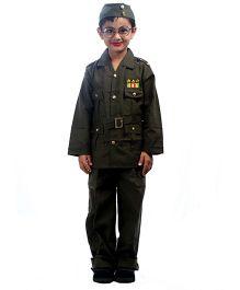 SBD National Heros Subhas Chandra Bose Fancy Dress Costume - Green