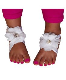 D'chica Floral Barefoot Shoes -  White