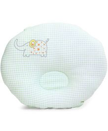 TomTom Joyful Baby Check Pillow Elephant Print - Light Green