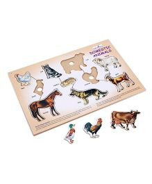 Creative Wooden Play N Learn Domestic Animal Puzzle - 10 Pieces
