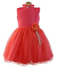 Simply Cute Dress With Pearl Jewellery - Peach