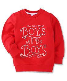 Babyhug Round Neck Full Sleeves Printed Sweat -T-Shirt - Red