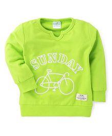 Babyhug Full Sleeves Sweat T-Shirt With Sunday Print - Lime Green