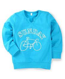 Babyhug Full Sleeves Sweat T-Shirt With Sunday Print - Blue
