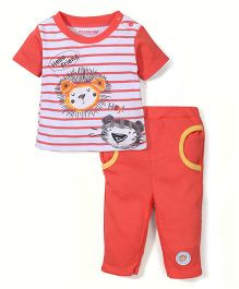 Wonderchild Hey Print T-Shirt & Pant Set - Orange
