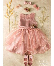 Little Coogie Party Wear Dress With Flower - Light Pink