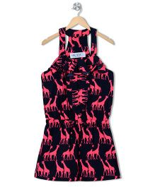 Soul Fairy Giraffe Print Jumper  - Neon Pink & Black