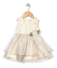 Little Coogie Party Wear Dress With Flower - Cream