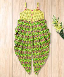 Twisha Zig Zag Print Jumpsuit  -  Yellow & Green