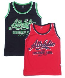 Simply Sleeveless Vests Athletic Print Set of 2 - Navy And Red