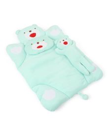 IQ Baby Baby Bedding With Bolster And Pillow Bear Design - Cyan