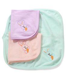 Simply Napkins Rabbit Design Peach Purple Green - Set Of 3