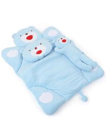 IQ Baby Baby Bedding With Bolster And Pillow Bear Design - Blue