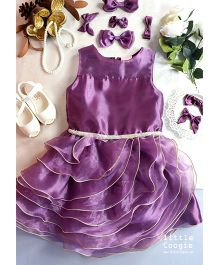 Little Coogie Layered Party Wear Dress - Lavender