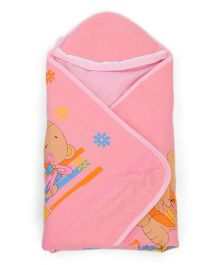 Montaly Hooded Wrapper Bear Print - Pink
