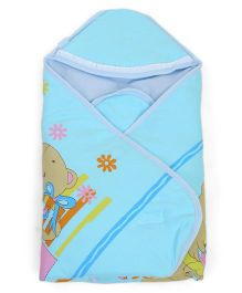 Montaly Hooded Wrapper Bear Print - Sky Blue