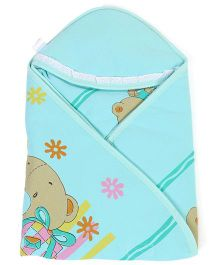 Montaly Hooded Wrapper Bear Print - Cyan