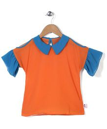 Chic Girls Sailor Neck Top - Orange
