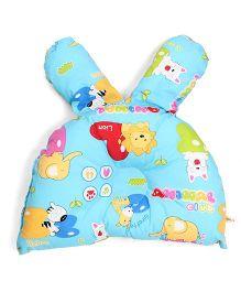 Bunny Face Shaped Semi Circular Baby Pillow Animal Club  Print - Blue