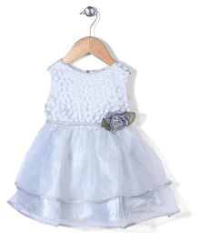 Little Coogie Flower Print Dress - Silver