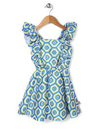 Chic Girls Flower Print Dress - White & Blue