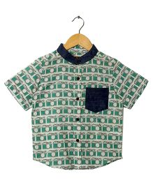 Hugsntugs Camera Print Shirt - Green & Navy Blue