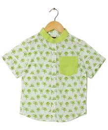 Hugsntugs Monster Print Shirt White - White  & Green