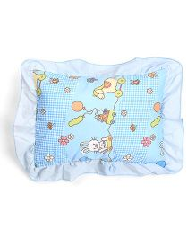 Rectangle Shape Baby Pillow Horse And Bunny Print - Blue