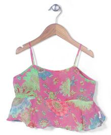 Chic Girls Singlet Flower Print Top - Pink & Green