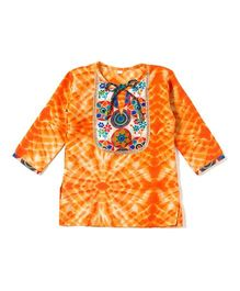Little Pockets Store Shibori Girls Kurti - Orange