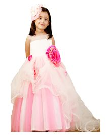 PinkCow Quilted Gown With Layered Frill - Pink