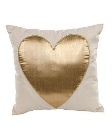 The Sprouts Cushion Heart Gold - Off White