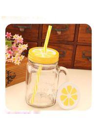 EZ Life Mason Jar Mug Lemon With Hard Straw - Yellow