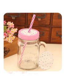 EZ Life Mason Jar Mug Dragonfruit With Hard Straw - White & Pink