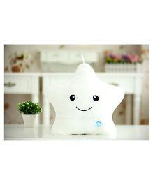 EZ Life Smiling Star Luminous Led Light Plush Pillow - White